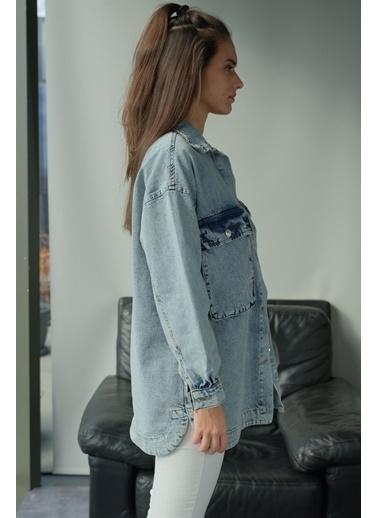Levure Uzun Cep Detaylı Kot Ceket Mavi